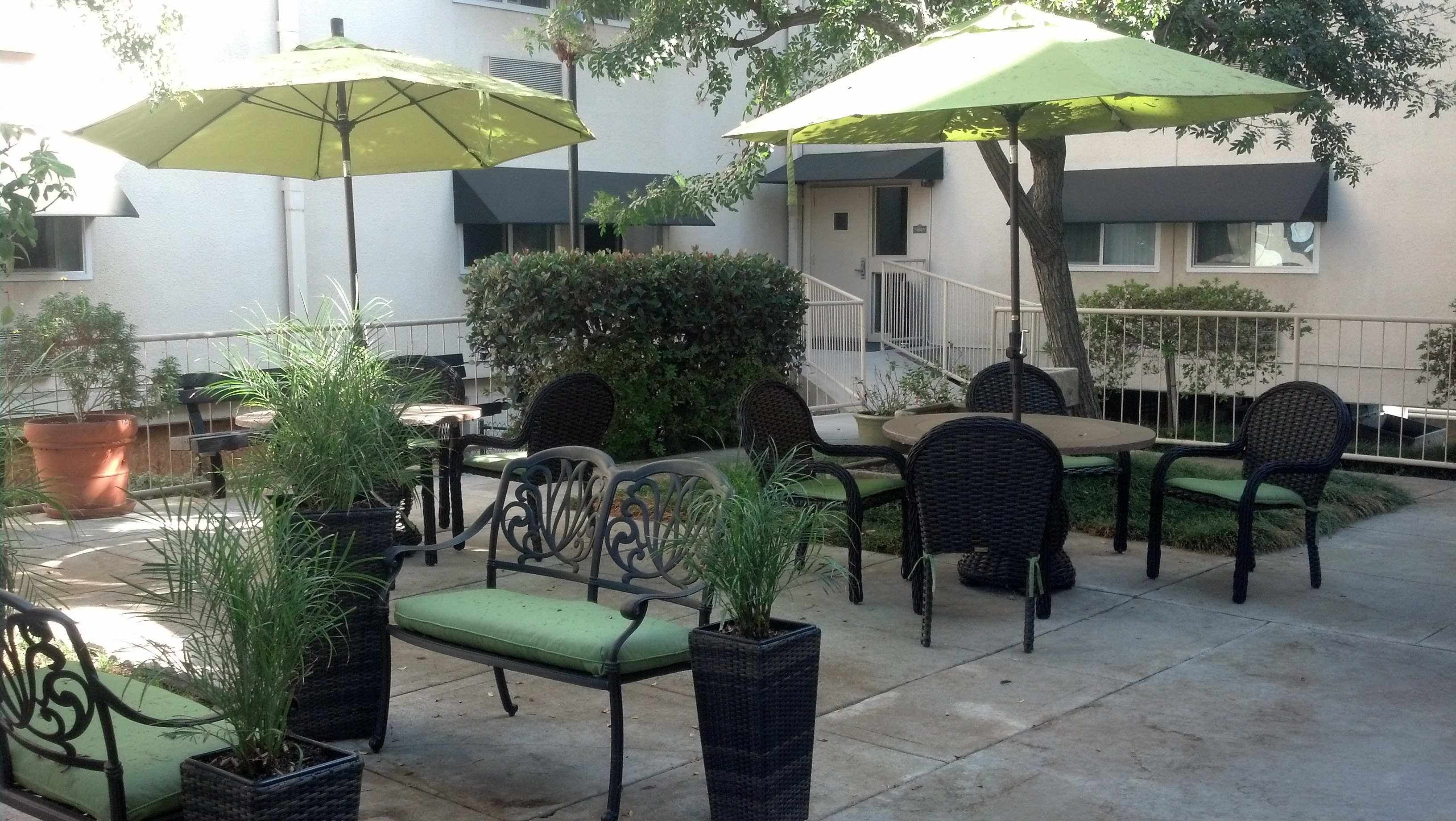 naomi outside courtyard and seating