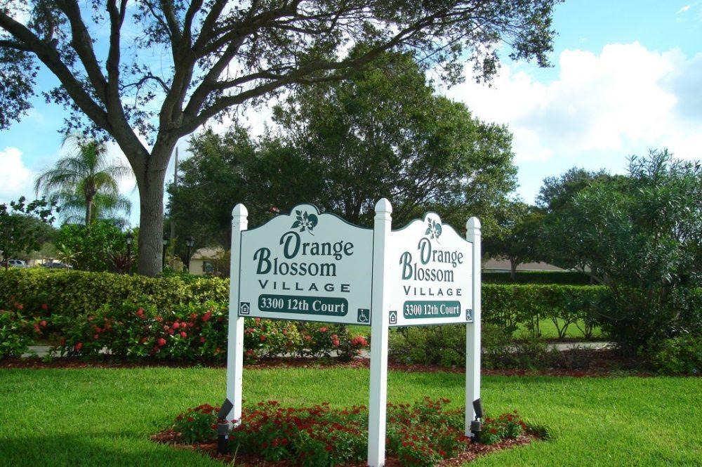 Orange blossom village sign