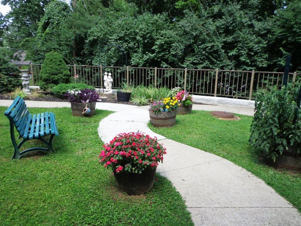Outdoor seating and walkway